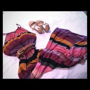 Loft stripe maxi dress, 8P, NWT
